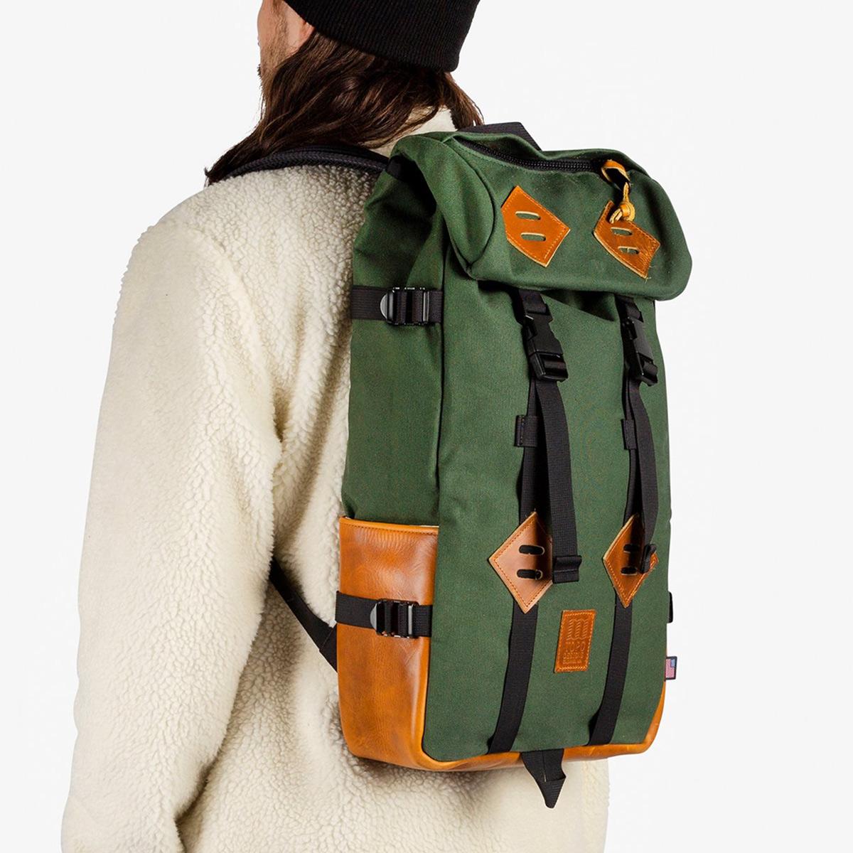 Topo Designs Klettersack Heritage Olive Canvas/Brown Leather, ideale rugzak voor reizen, citytrip, wandelen of andere outdoor activiteiten