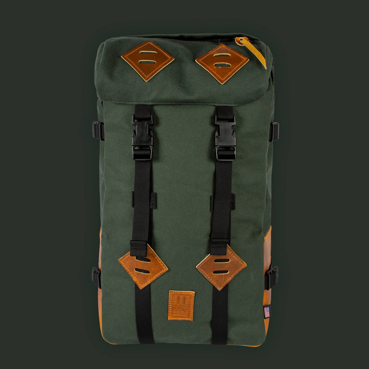 Topo Designs Klettersack Heritage Olive Canvas/Brown Leather, prachtige rugzak voor mannen en vrouwen