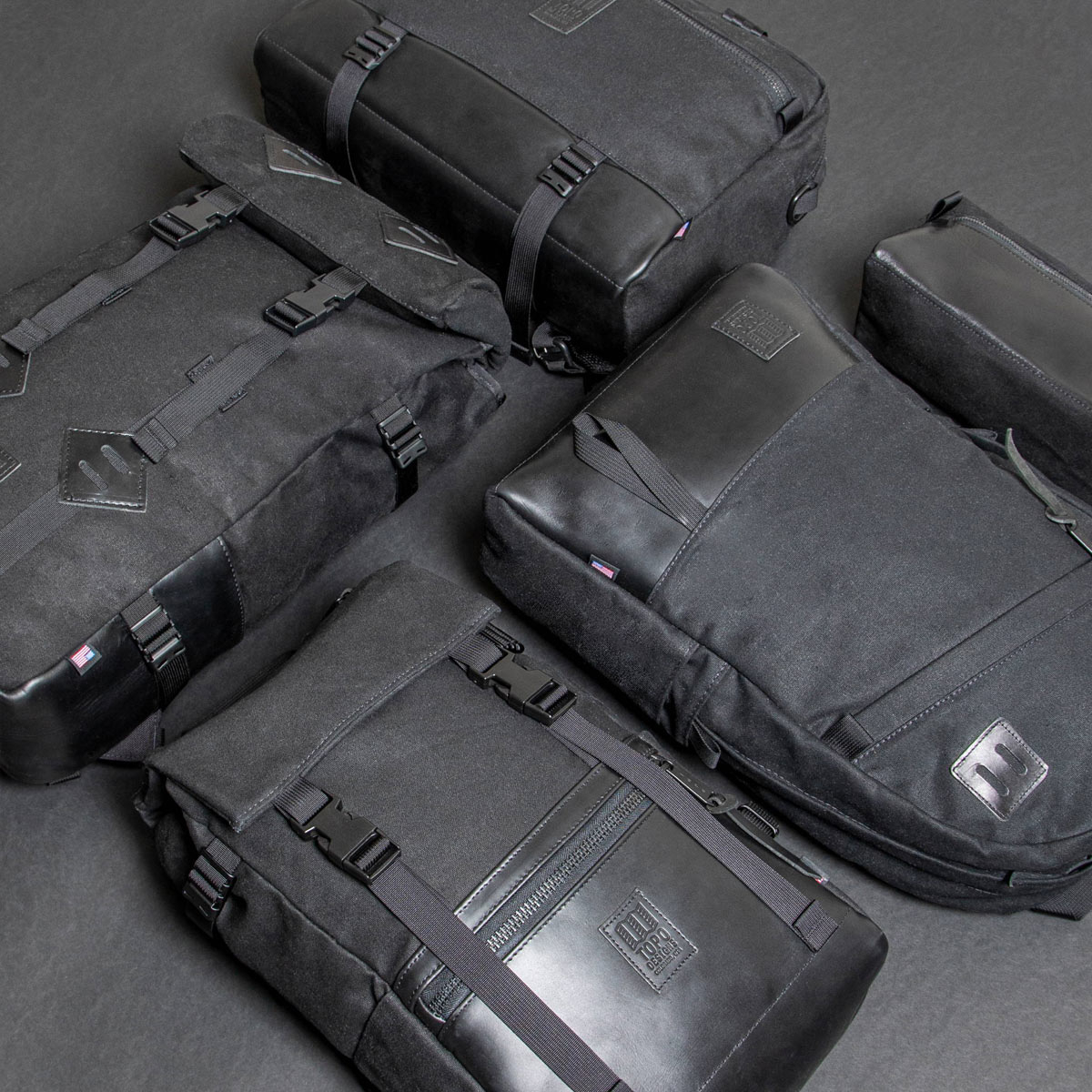 Topo Designs Commuter Briefcase Heritige Black Canvas/Black Leather, aktetas, schoudertas en rugzak in één