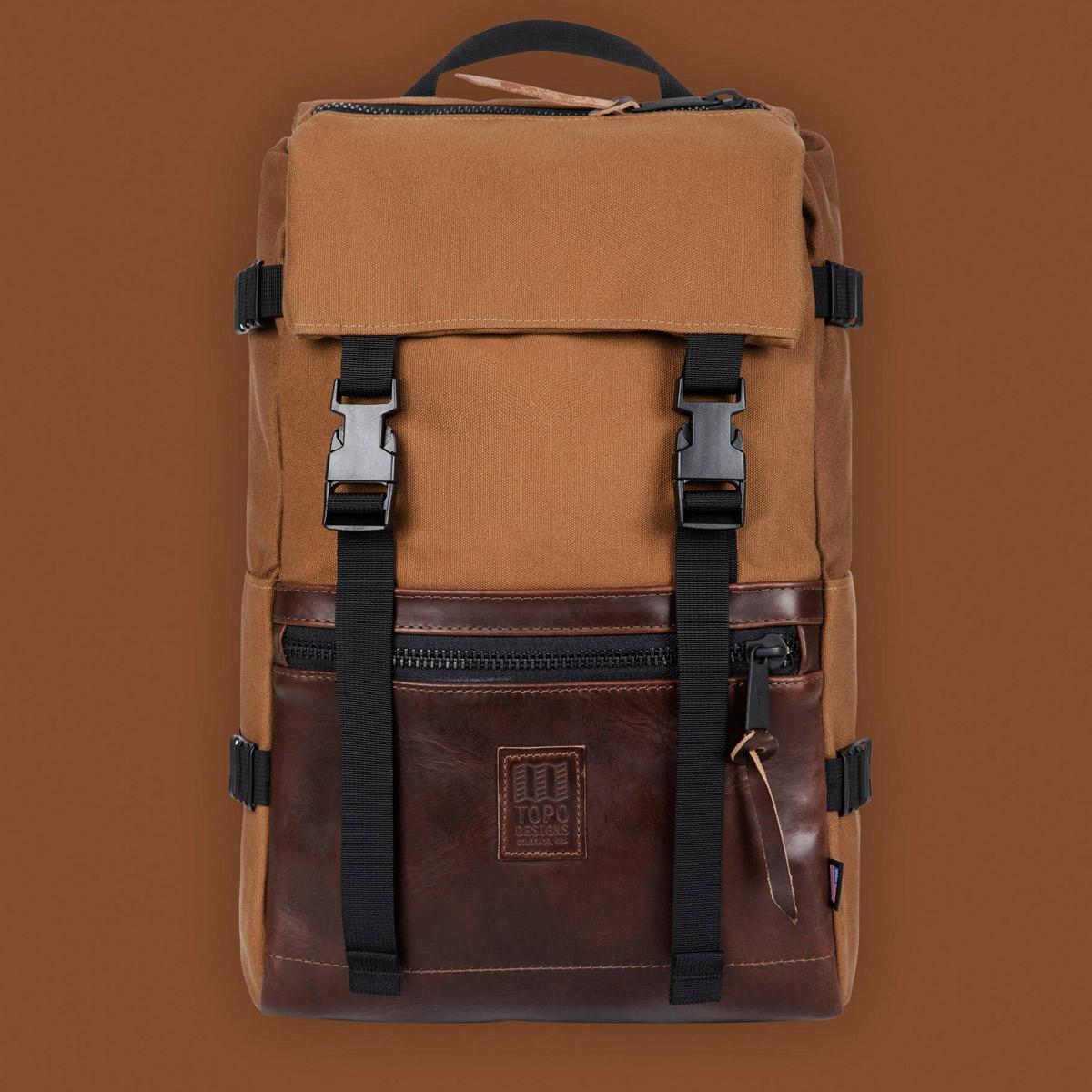 Topo Designs Rover Pack Heritage Dark Khaki Canvas/Brown Leather, klassieke en tijdloze rugzak