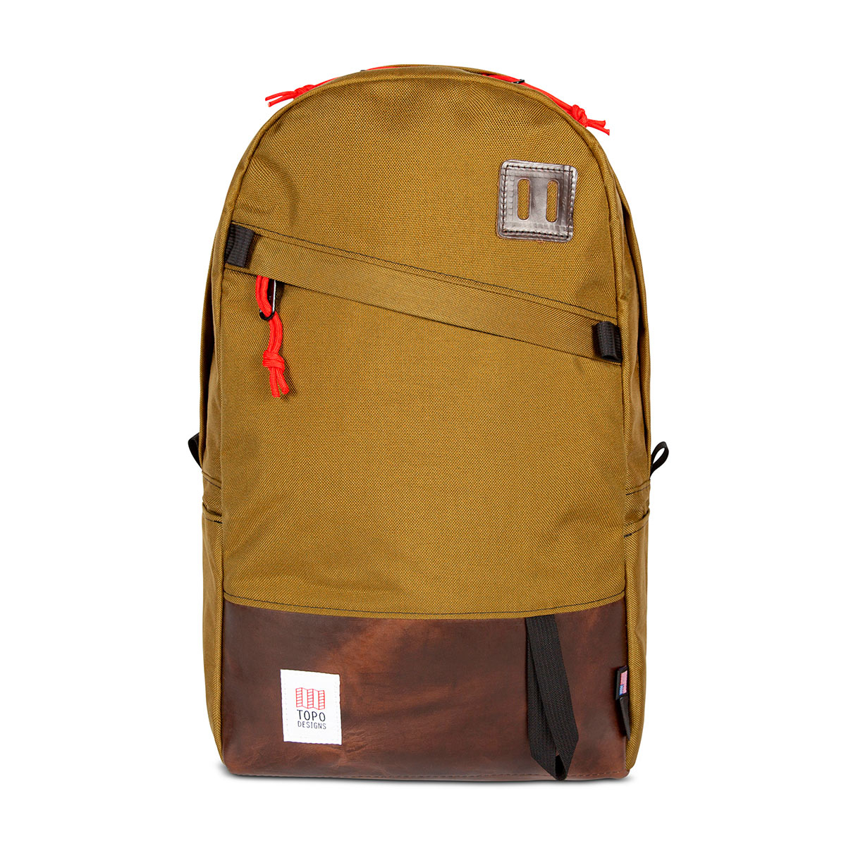 Topo Designs Daypack Duck Brown/Dark Brown Leather, sterke rugzak in 1000D Cordura met 15 inch laptopvak