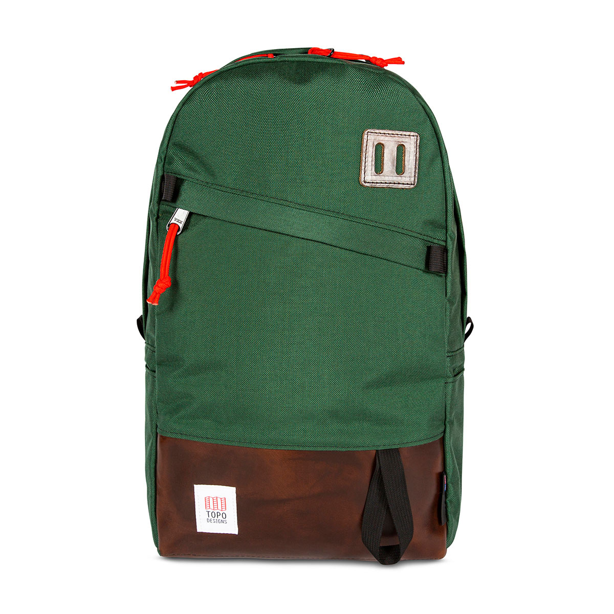 Topo Designs Daypack Forest/Brown Leather, ideale reisgenoot, schoolmaatje of pakezel