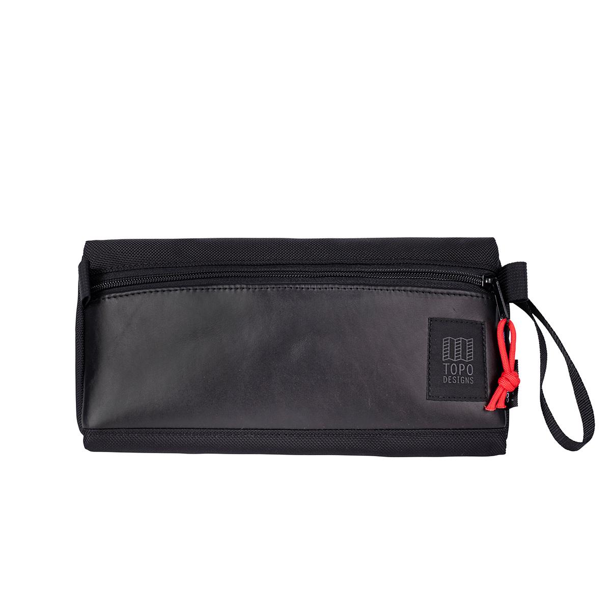 Topo Designs Dopp Kit Ballistic Black/Black Leather, water-resistant, travel light, accessory bag