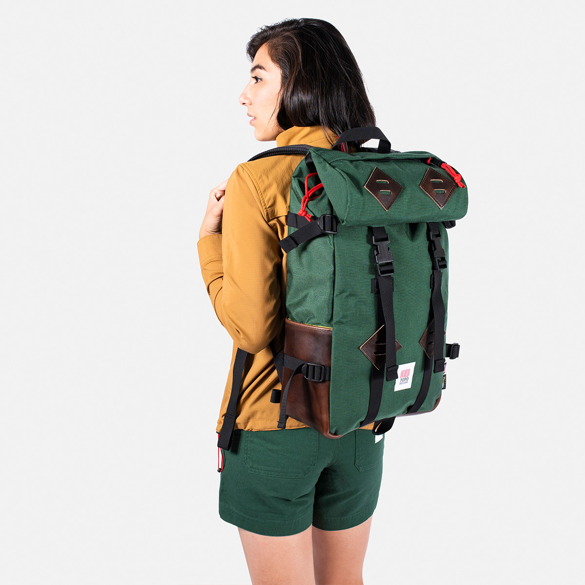 Topo Designs Klettersack Backpack Forest/Brown Leather Lifestyle, perfect backpack for men and women