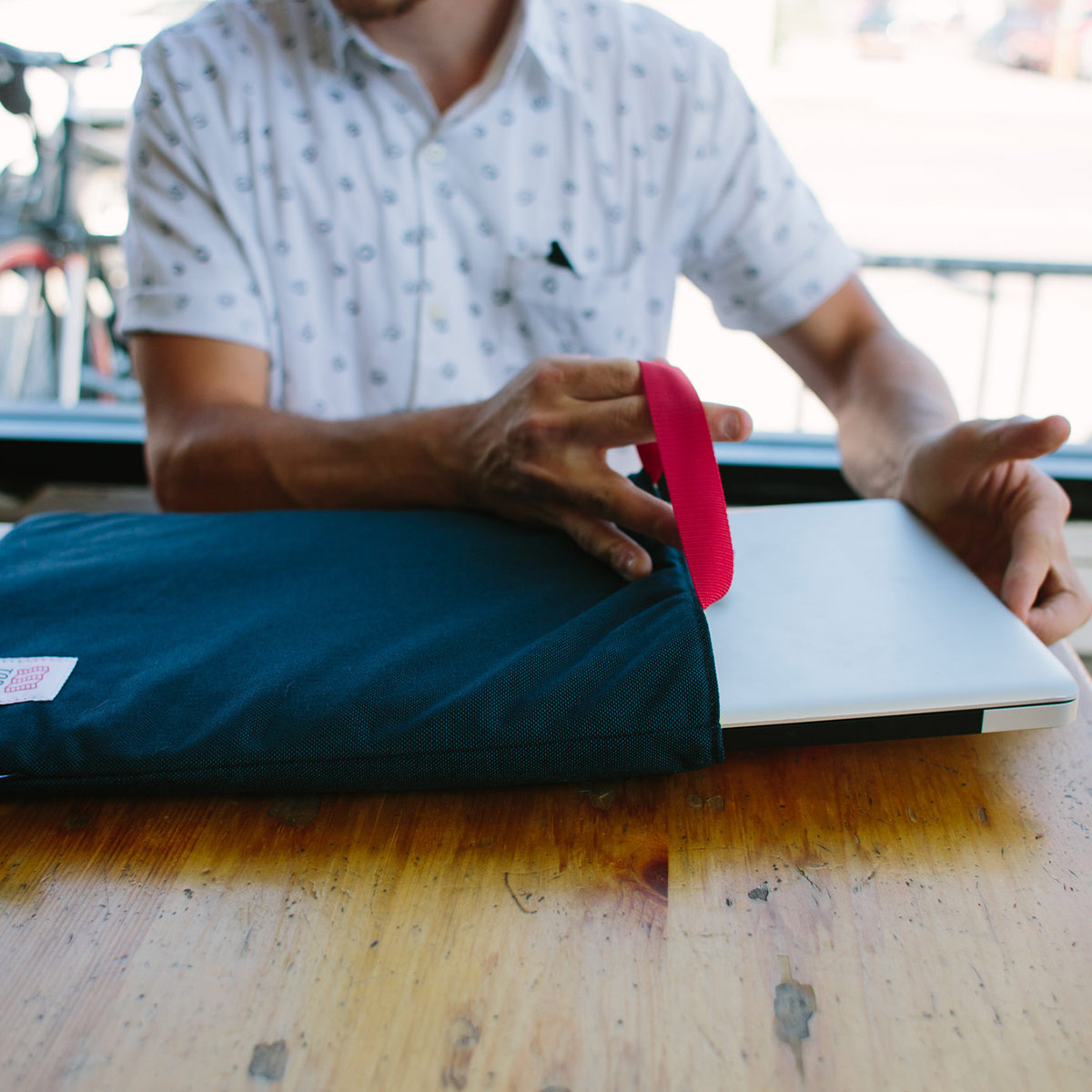 Topo Designs Laptop Sleeve Navy, made with 1000D Cordura® outer and foam padded body