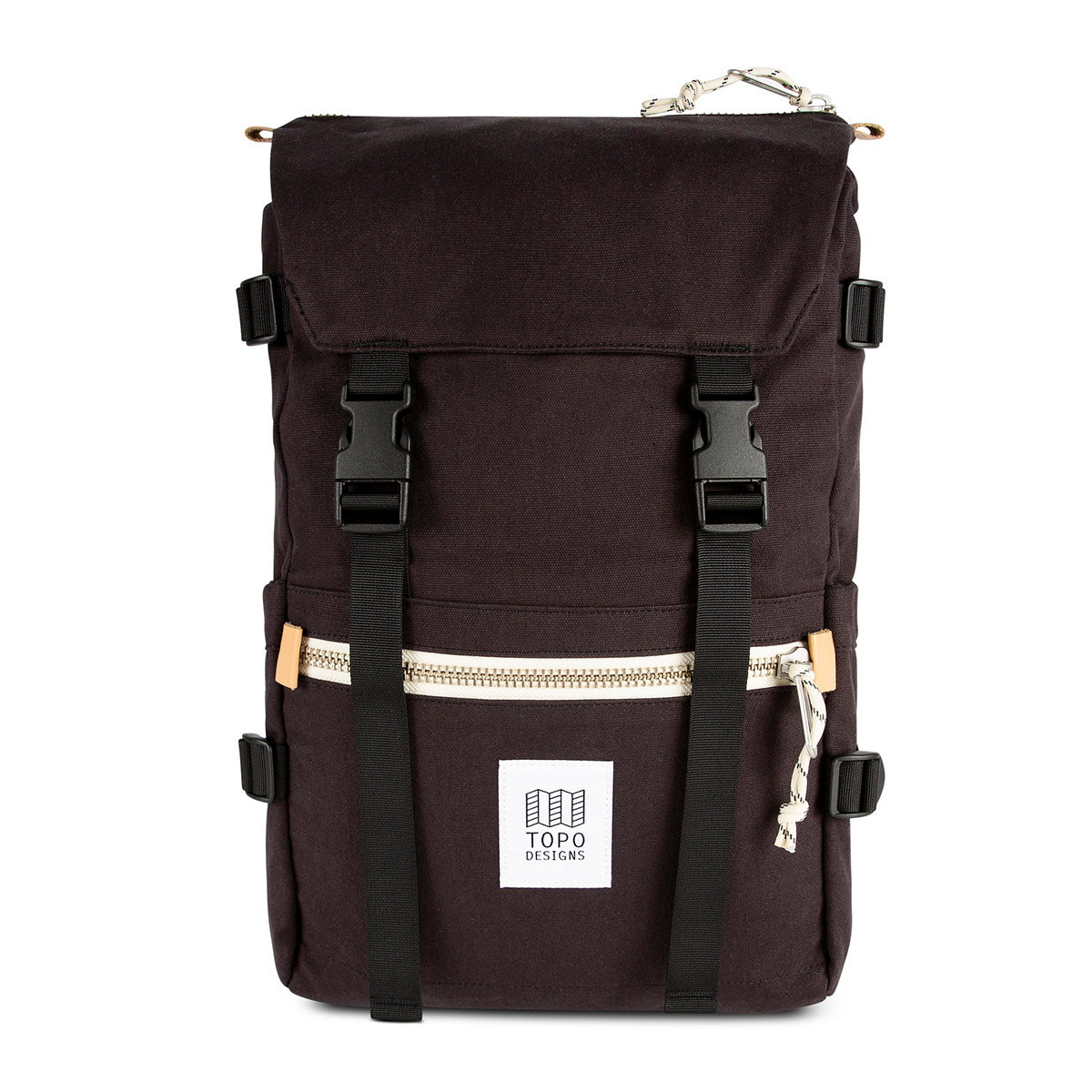 Topo Designs Rover Pack Canvas Black, Mountain-inspired durability meets city-ready styling in the Rover Pack Canvas.