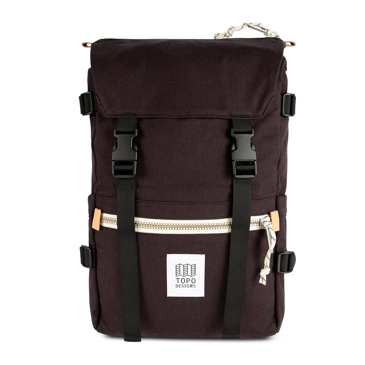 Topo Designs Rover Pack Canvas Black, een op de bergen geïnspireerde rugzak ontmoet urban city stijl.