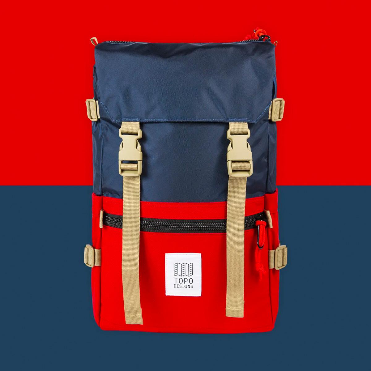 Topo Designs Rover Pack Classic Navy/Red, niet te groot, niet te klein, niet te simpel, iconische rugzak van Topo Designs