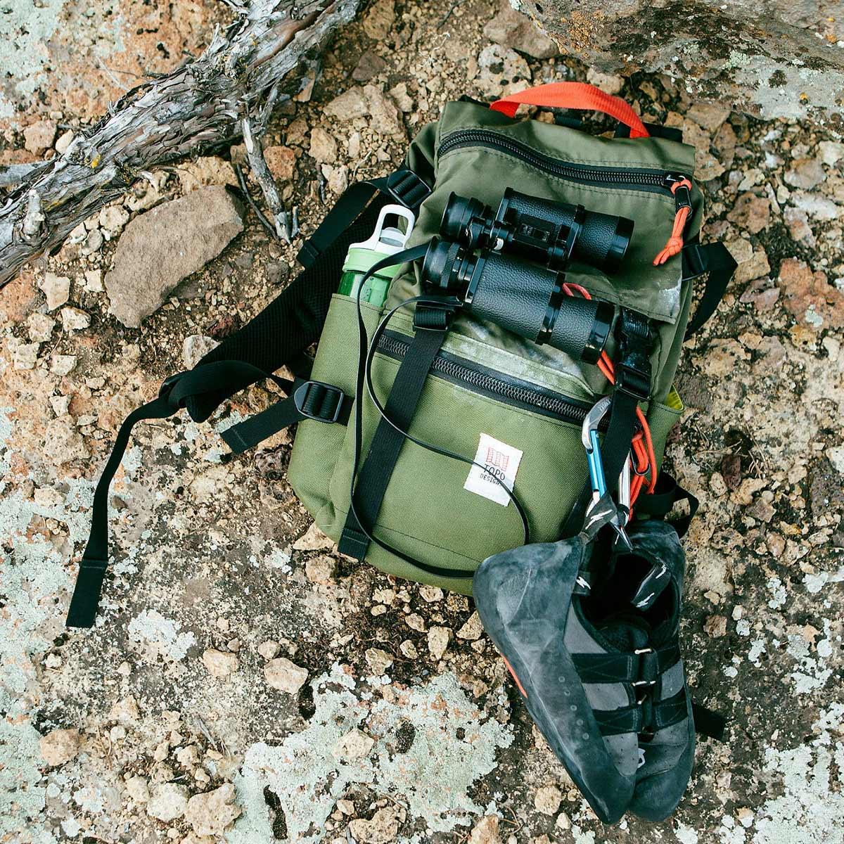 Topo Designs Rover Pack Classic Olive, tijdloze rugzak met moderne functionaliteiten voor dagelijks gebruik