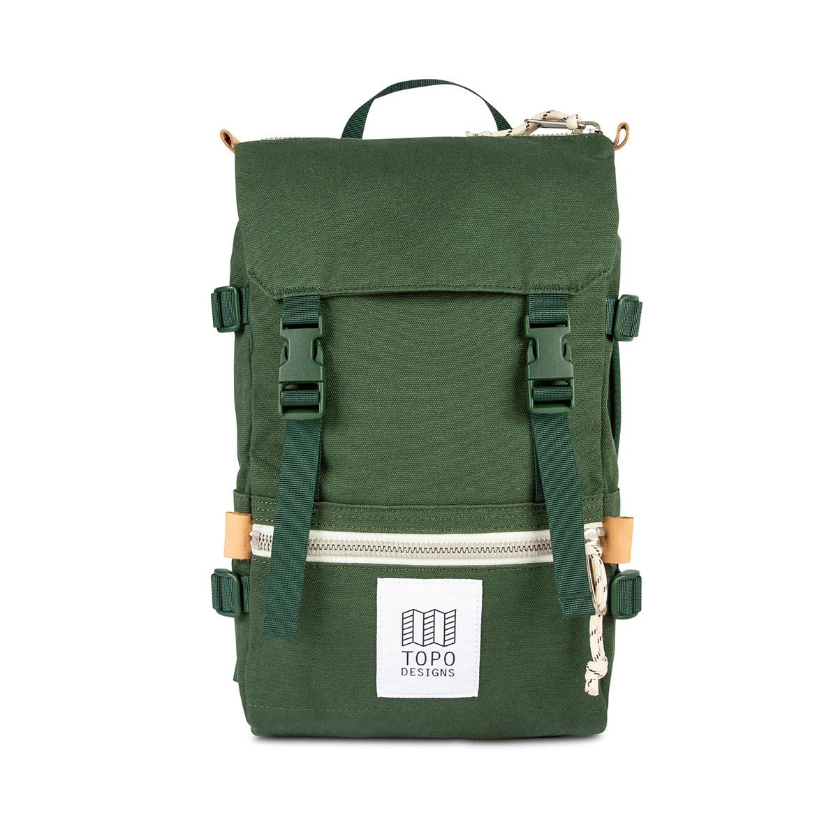 Topo Designs Rover Pack - Mini Canvas Forest, statement-makende rugtas met de perfecte maat om boodschappen mee te doen of mee te nemen tijdens een wandeling