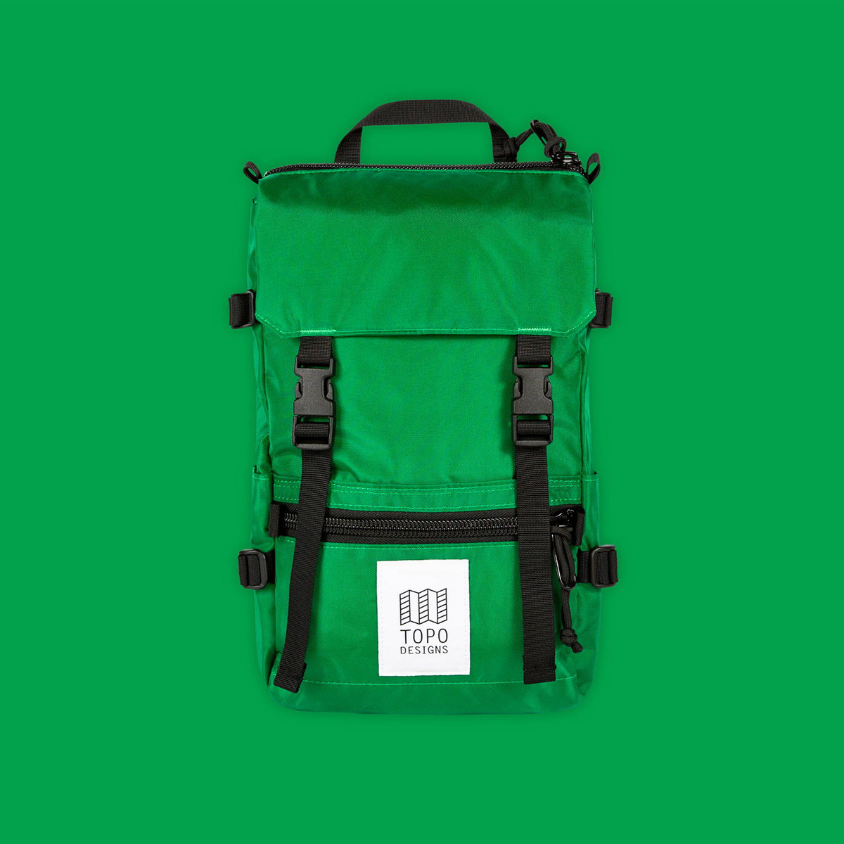 Topo Designs Rover Pack - Mini Green-Green, statement-making bag that's the perfect size for errands around town or on the trail