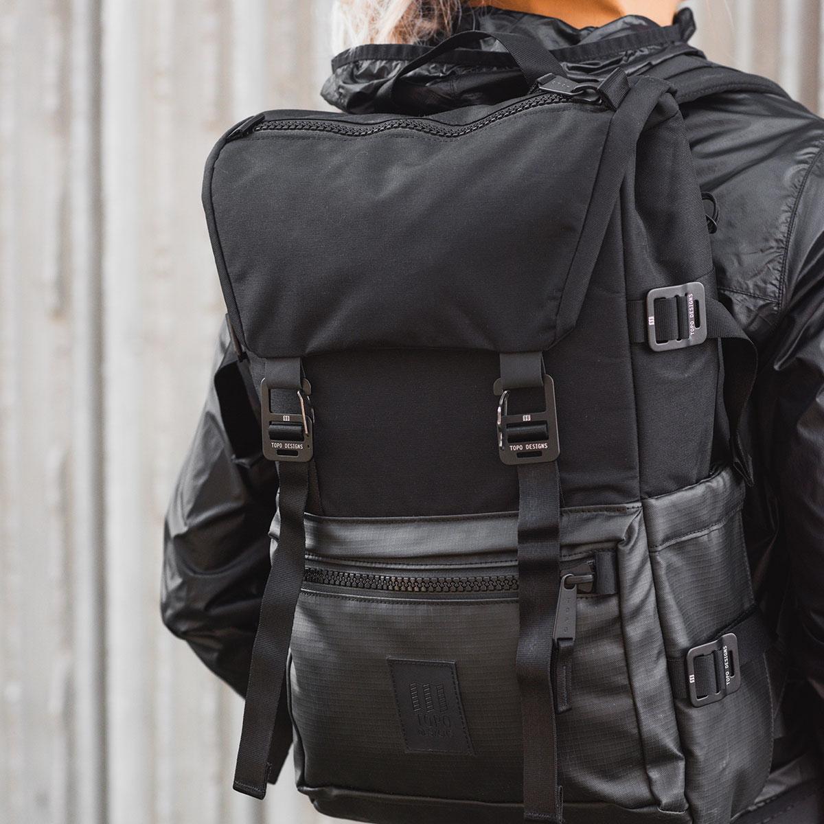Topo Designs Rover Pack Premium Black, sterke, moderne en tijdloze rugzak