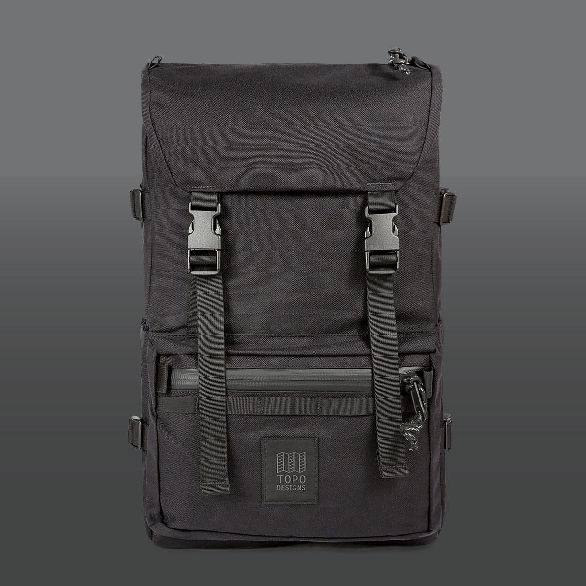 Topo Designs Rover Pack Tech Black, tijdloze rugzak met moderne functionaliteiten voor dagelijks gebruik