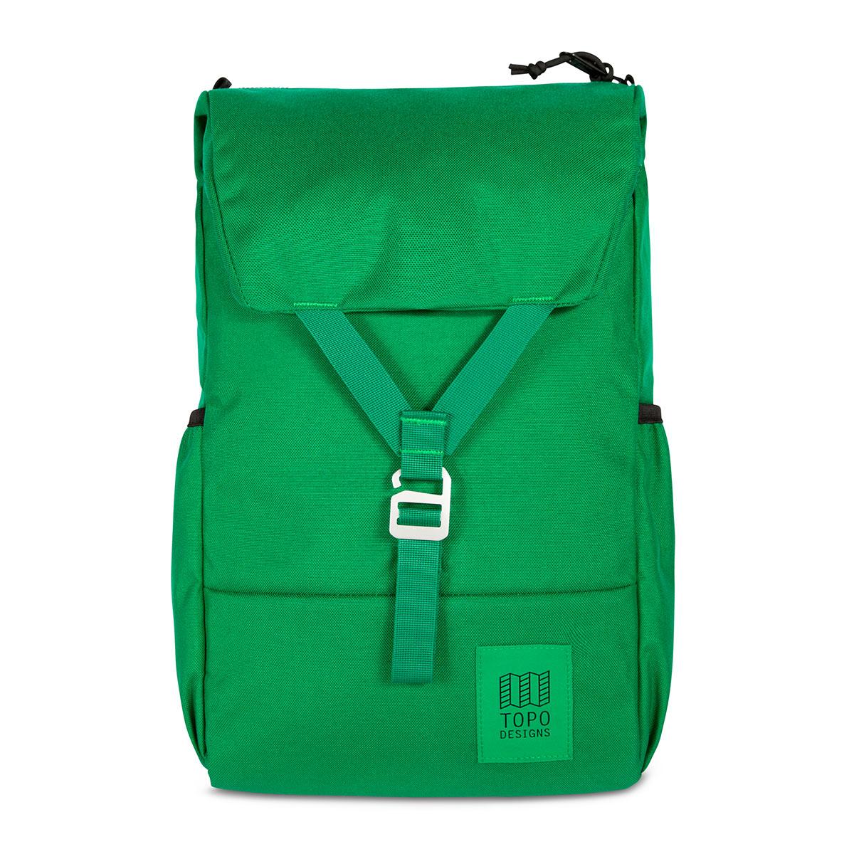 Topo Designs Y-Pack Green/Green fijne dagrugzak met een brede klep en éénpunts sluiting