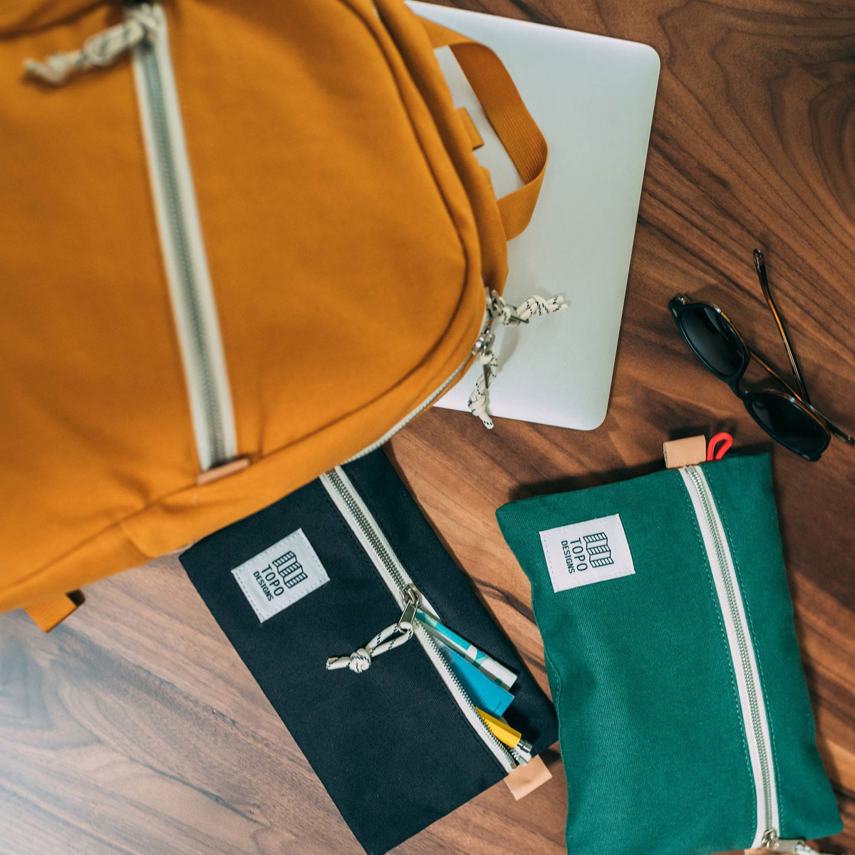 Topo Designs Accessory Bags Canvas Forest 3 Sizes, easy traveling, keeps the inside of your pack neat and organized