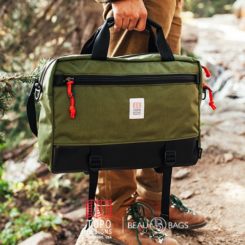 Topo Designs Commuter Briefcase Olive/Black Leather, perfect briefcase for Office, Travel, and Everyday