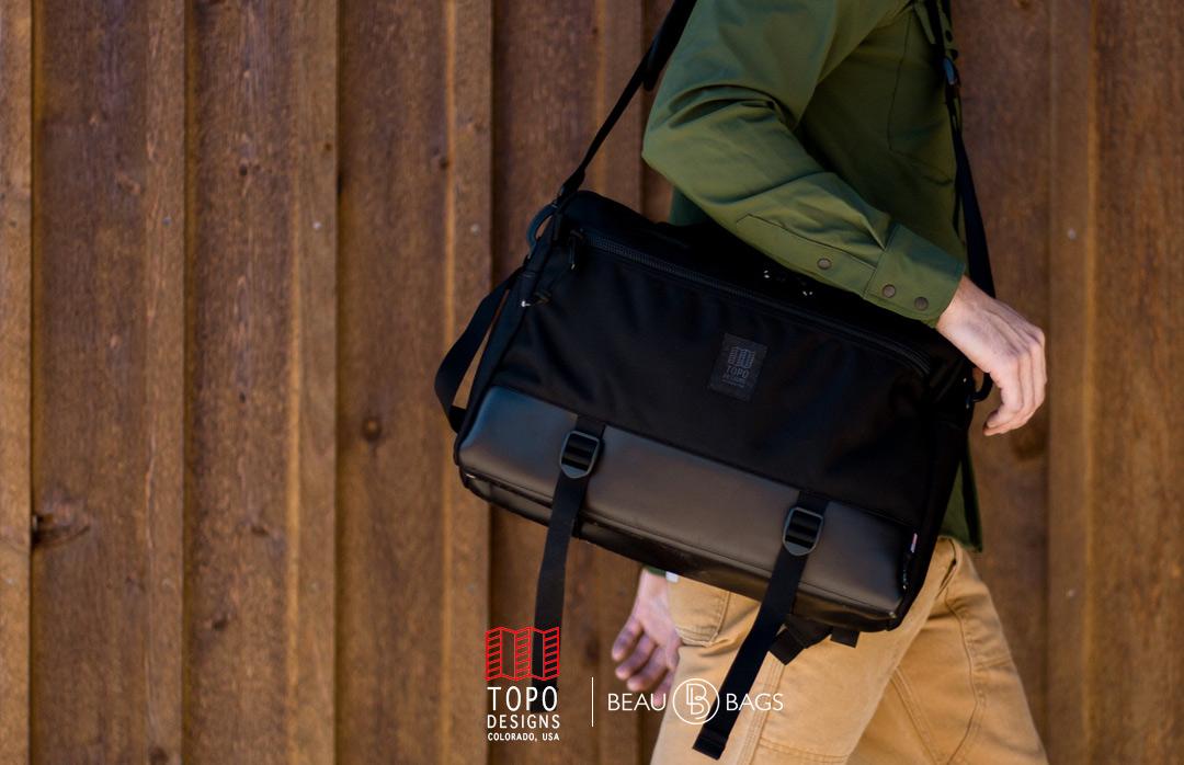 Topo Designs Commuter Briefcase Ballistic/Black Leather Lifestyle