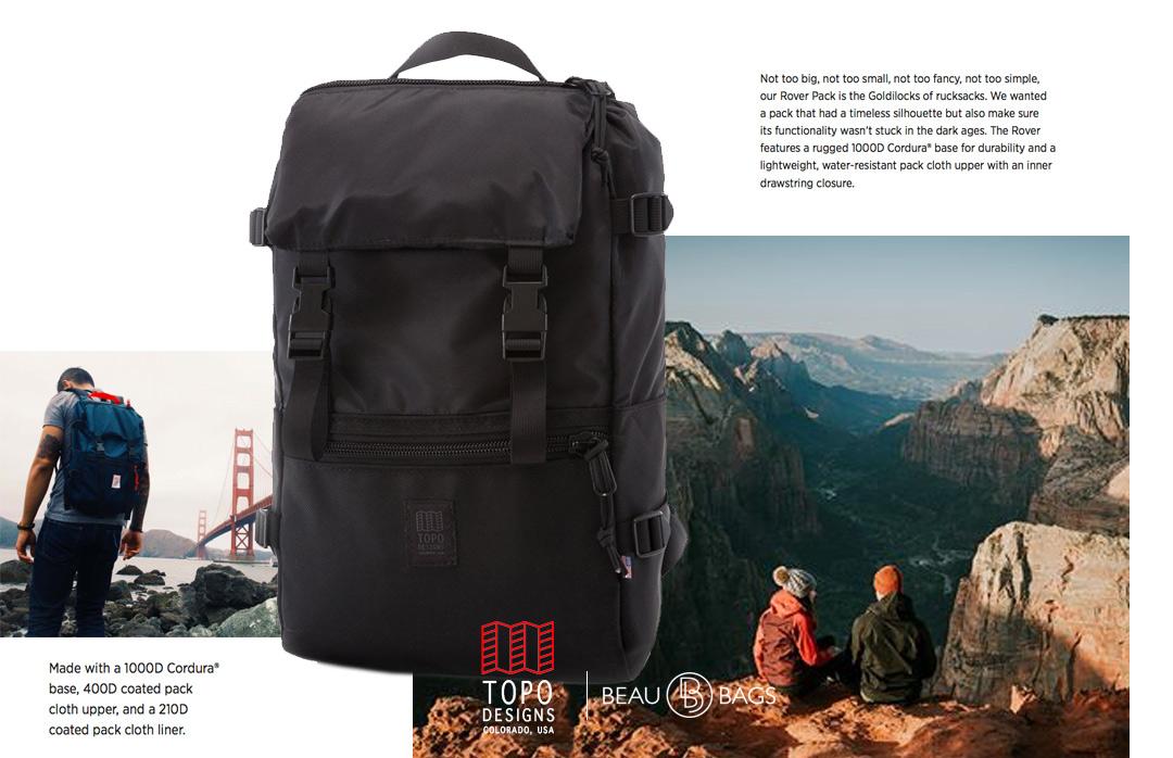 Topo Designs Rover Pack Ballistic Black, sterke, moderne en tijdloze rugzak